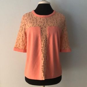 Gianni Bini Peach Lace Top Lined Short Sleeves M
